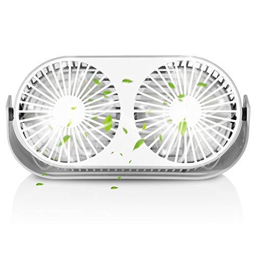 Ventilador USB Silencioso, Ventilador de Mesa con Doble Cabeza, 3 Modo de Velocidad, 360°Ajustable, Aroma Algodon, Silencioso Ventilador para la Oficina, Hogar, Viajar, Acampar