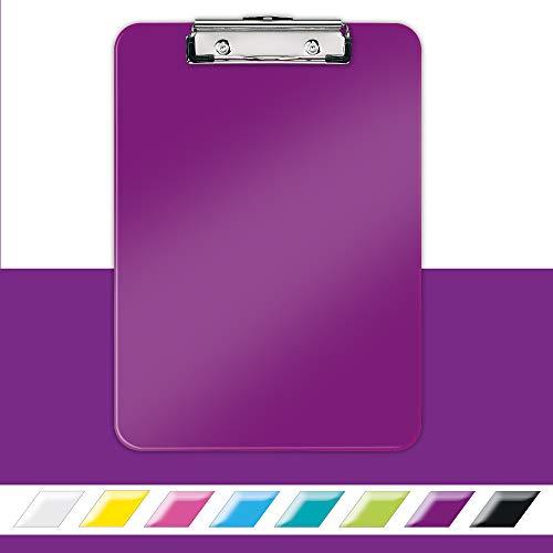 LEITZ 39710062 - Capeta MINICLIP WOW con pinza DIN A4 con pinza metálica color violeta metalizado