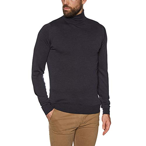 John Smedley Men's Merino Wool Roll Neck Cherwell Jumper Hepburn Smoke M