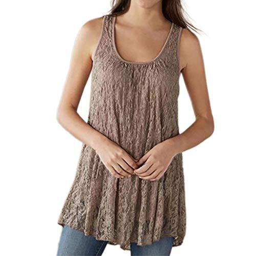 Janly - Chaleco informal para mujer, talla grande, de encaje, sin mangas, cuello en V, para mujer, color beige (XL)