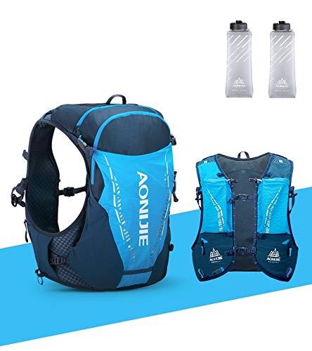 AONIJIE Laufen Wanderrucksack Outdoor Sport 10L Trinkweste Rucksack Unisex Reiten Wanderrucksäcke mit 2 Stück 420ml Wasserflasche, (BLAU, L/XL)