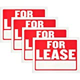for Lease Sign- High Visibility and Color Contrast, Waterproof Heavy Duty Plastic, 9 x 12 Inches, Property Signboard for Rental Home Apartment Car Auto Store (Pack of 4) - by Hespex