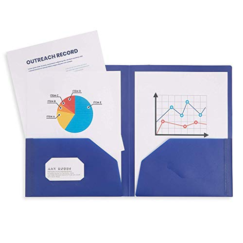 6 Pack Multicolor Plastic Two Pocket Folders, Plastic Folders with 2 Pockets and Business Card Slot, 2 Pocket Plastic Folders for School, Home, and Work, 6 Pack Plastic Folders Photo #4
