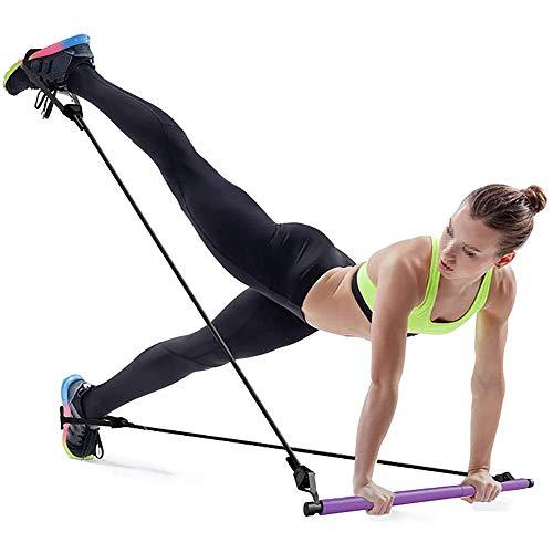 KUANDARMX Fuerte Resistance Band Bar Fitness Pilates Bar For Bodybuilding Workout,Pilates Bar Adjustable,Portable Pilates Bar Stick Fitness Exercise Bar Yoga Stick Resistance Band Presente