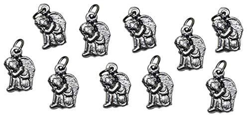 Ciondolo Angioletto Custode - Bomboniere fai da te Battesimo / Nascita per bambino e bambina - Charms placcati argento con anellino - h 1,5 cm. 10 pezzi