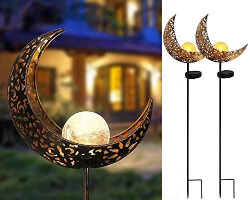 Solarlampen für Außen, Solar Mond Lampe IP65 Wasserdicht LED Garten Solarleuchten,Wegbeleuchtung Solarlampen für Rasen, Auffahrt, Gehweg, Patio, Hof, Garden 2 Stück