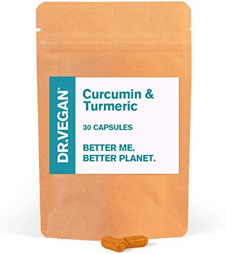 DR.VEGAN Organic Curcumin & Turmeric   High Strength, 30 Vegan-Friendly Capsules   Curcumin (200mg) & Turmeric (600mg) with Ginger & Black Pepper   One-A-Day