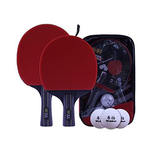 Best Deals! YINJIESHANGMAO 2 Pack Table Tennis Rackets, Horizontal Single and Double Shots, Beginner...