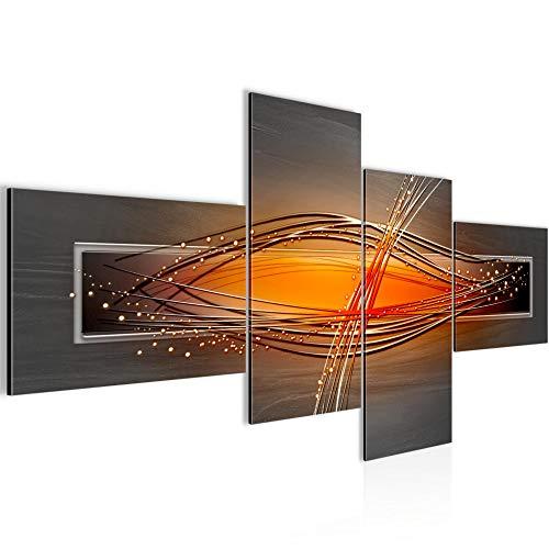 Runa Art Wandbild Wohnzimmer Abstrakt Grau Orange Schwarz 4 Teilig - Made in Germany - 103345a