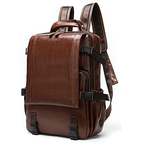 MHYZZ La mochila de cuero para hombre es adecuada para portátil de 15,6 pulgadas, mochila de viaje al aire libre hecha a mano de gran capacidad