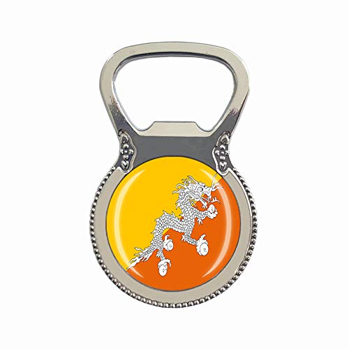 Bhutan-Flagge Bierflaschenöffner Kühlschrank Magnet Metall Glas Kristall Reise Souvenir Geschenk Heimdekoration