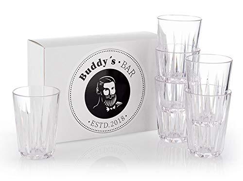Buddy\'s Bar - 6er Set, Hochwertige 0,15 Liter Tritan Kunststoff Trinkgläser, BPA frei, Kristallglas-Optik, bruchfeste Mehrweg-Gläser, wiederverwendbar und spülmaschinenfest, 150 ml