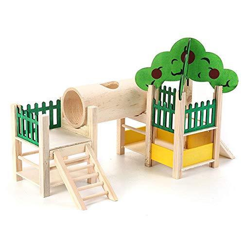 TEEPAO Maison et cachettes pour Hamster en Bois Naturel...