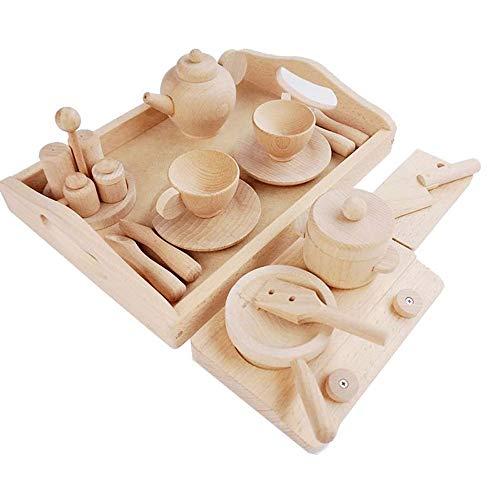 Yifuty Massivholz Kinder Teacup, Teekanne, Spiel-Haus-Spielzeug, Holz Unpainted Baby-Küche-Spiel-Haus-Satz, Küchenutensilien verwenden, verarbeiten Awareness 2-3-4 Jahre alt