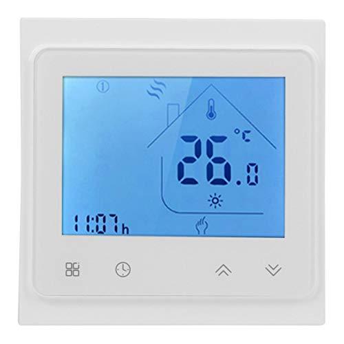 Programmierbarer Thermostat, Touching Smart Thermostat, LCD-Display, für Warmwasserbereitung, Fernthermostat, Kompatibel mit Alexa, 95-240V(Weiß)