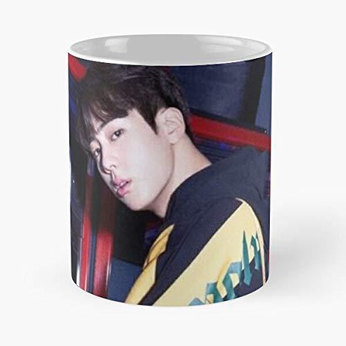 Jin BTS Aufkleber-Tasse, 325 ml, Kaffee, witziges Design, tolles Geschenk, weiß-miinviet.