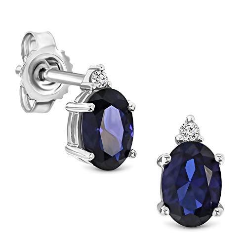 Miore Ohrringe Damen 0.02 Ct Diamant ovale Ohrhänger mit Edelstein/Geburtsstein Saphir in blau aus Weißgold 9 Karat / 375 Gold, Ohrschmuck mit Diamanten Brillanten