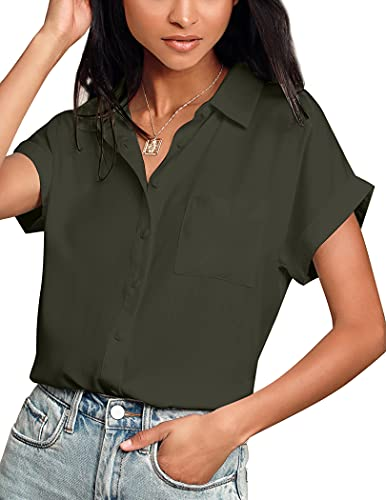 Hotouch Women's Short Sleeve Collared Shirt Button Up Shirts Casual Business Tops Army Green XXL