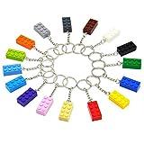 N/AA 16 Stücke Party Schlüsselanhänger, Gefälligkeiten Schlüsselanhänger, Baustein Schlüsselring, für Kindergeburtstagsfeier, Kinderbelohnungen, Partybedarf, farbige Schlüsselanhänger mit 16 Farben