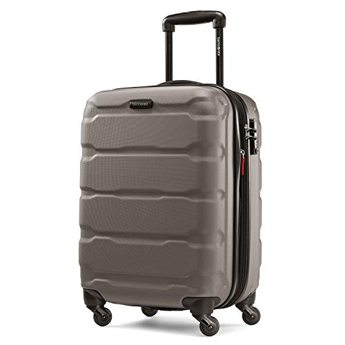 Samsonite Omni PC Hardside Expandable Luggage with Spinner Wheels, Silver, Checked-Medium 24-Inch