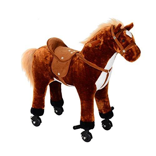 homcom Cavallo per i Bambini con Ruote Suono 65 x 28 x 75cm Marrone