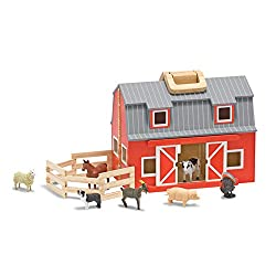 Melissa & Doug Fold and Go Wooden Barn With 7 Animal Play Figures