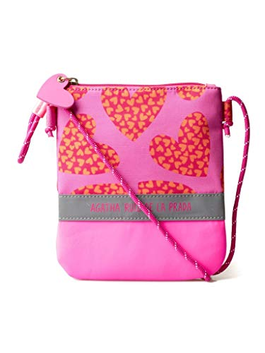 Bolso Bandolera Cartera pequeña de mujer color rosa con estampado de corazones Agatha Ruiz de la Prada