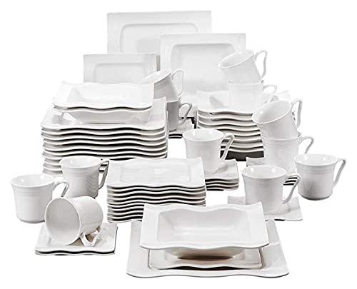 . Conjunto de vajillas de Cena de Porcelana de 60 Piezas con 12cups, platillos, Cena Sopa Placas de Postre Establecer Servicio para 12 Personas LingGe