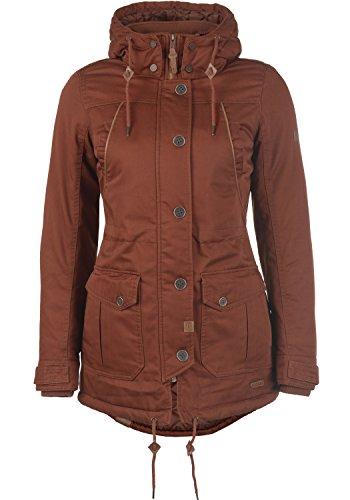 DESIRES Annabelle Damen Übergangsparka Parka Übergangsjacke Lange Jacke mit Kapuze, Größe:M, Farbe:Fox Brown (6792)