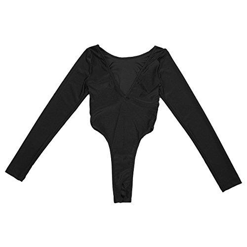 Freebily Damen Stringbody Wetlook Ouvert Body Langarm Bikini Tanga Thong Leotard Overalls Reizvoll Dessous Erotik Unterwäsche Badeanzug Monokini Schwarz One Size