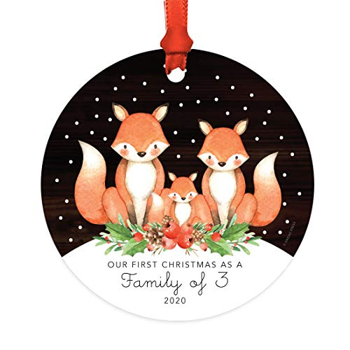 Andaz Press Custom Year Family Metal Christmas Ornament, Our First Christmas as a Family of Three 2021, Watercolor Fox in Snow, 1-Pack, Includes Ribbon and Gift Bag