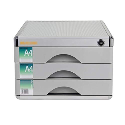 Archivadores Archivadores de alta dureza del material de aleación de aluminio con cerradura de escritorio Organizador de cajones de deslizamientos pequeña pista White Label - 30x36x20.5cm Caja de arch