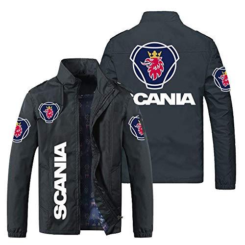 Outwear Chaqueta para Hombre - Scania Prin CHACKETS STOR Collar Casos Casual Adolescente Chaquetas A Prueba De Viento Ciclismo Jersey D-X-Large