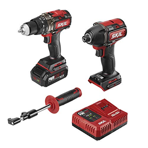 """SKIL 2-Tool Combo Kit: Pwrcore 20 Brushless 20V 1/2"""" Heavy Duty Hammer Drill & Cordless Impact Driver, Includes 2.0Ah Lithium Battery & Pwrjump Charger - CB743801"""