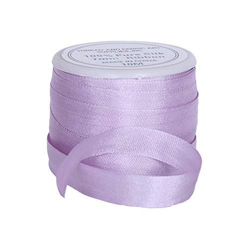 Threadart 100% Pure Silk Ribbon - 7mm Pale Lavender - No. 024-3 Sizes - 50 Colors