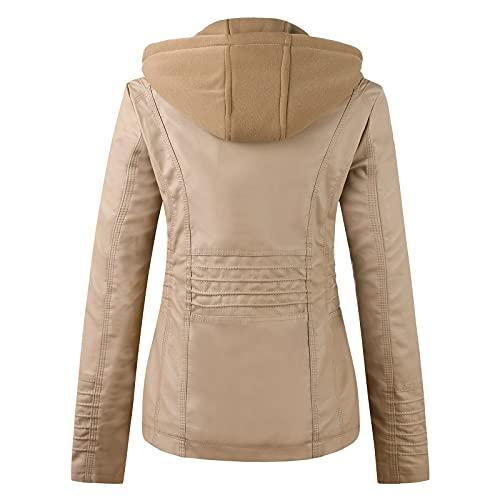 Boshivw Giacca in pelle da donna nera con cappuccio rimovibile, in softshell, vintage, giacca da motociclista, antivento, giacca per attività all'aria aperta, cachi, 7X-Large