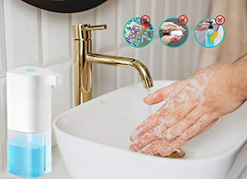 UMsky Dispenser automatico di sapone schiumogeno da 340 ml, con sensore a infrarossi e dispenser di sapone ricaricabile, dispenser intelligente per bagno, cucina, hotel