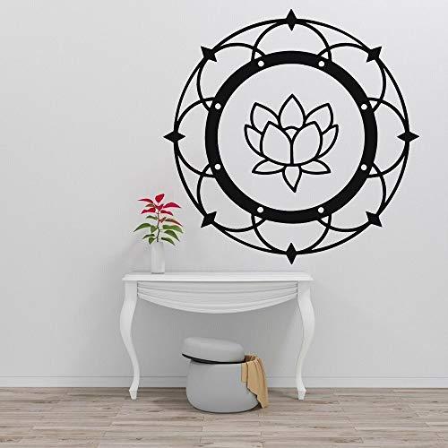 Blrpbc Adhesivos Pared Pegatinas de Pared Lotus Mandala Yoga Budismo Meditación Vinilo Sala de Estar Ventana Interior Muebles Decorativos para el hogar 56x56cm