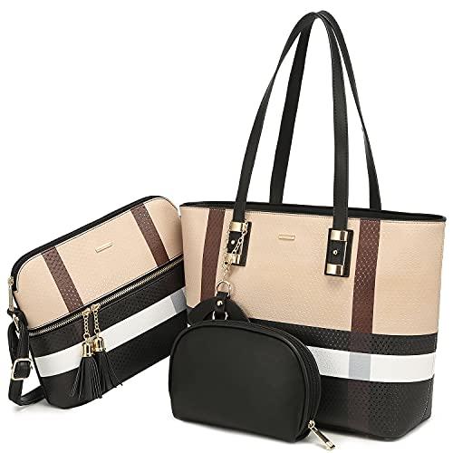 LOVEVOOK Handbags for Women Shoulder Bag Fashion Tote Top Handle Satchel Purse Set 3PCs