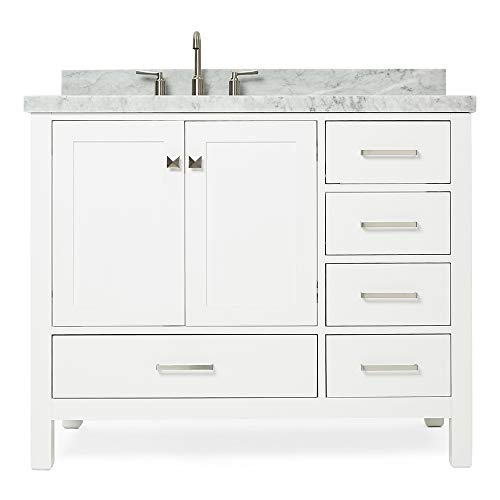 ARIEL 43' inch White Bathroom Vanity with Carrara White Marble Countertop | Left Offset Oval Sink | 2 Soft Closing Doors and 5 Full Extension Dovetail Drawers | No Mirror