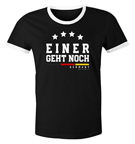 MoonWorks Herren Fan-Shirt Deutschland Einer geht geht noch Vier Sterne Fußball WM 2018 schwarz-weiß L