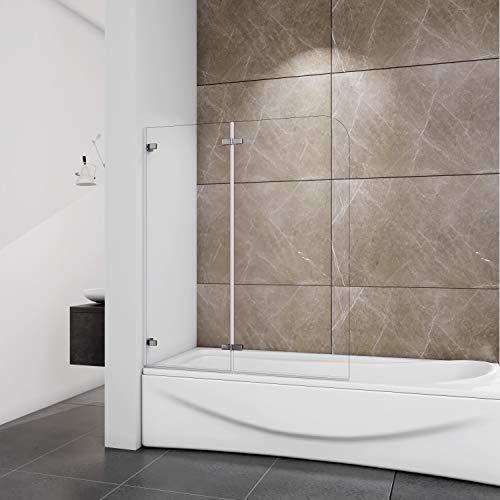 Sopravasca Parete Vasca da Bagno 120x140 cm con Due Cerniere a Vista al Muro Due Ante Mobili in Cristallo Temperato da 5 mm Trasparente