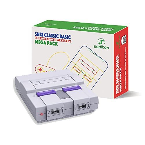 Sonicon Preloaded SNES Classic Edition Mini Retro Console Compatible with Nintendo NES, Super Nintendo, Sega Genesis Emulator, Full Collection of NES & SNES Games HDMI 1080P (SNES, 2500 Games)