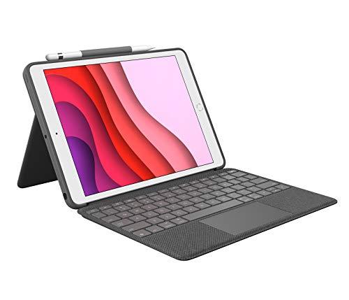 Logitech Combo Touch für iPad (7. Gen) A2200, A2197, A2198 und (8. Gen) A2270, A2428, A2429, A2430, Tastatur-Hülle mit Trackpad, abnehmbares Keyboard, Smart-Connector-Technologie, ESP QWERTY - Schwarz