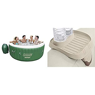 Coleman SaluSpa Inflatable Hot Tub Spa, Green & White & Intex PureSpa Cup Holder, 2 Standard Size Beverage Containers