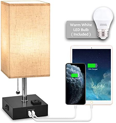 USB Bedside Table Lamp Hansang Nightstand Lamp with Dual Charging Ports LED Desk Lamps for Bedrooms product image