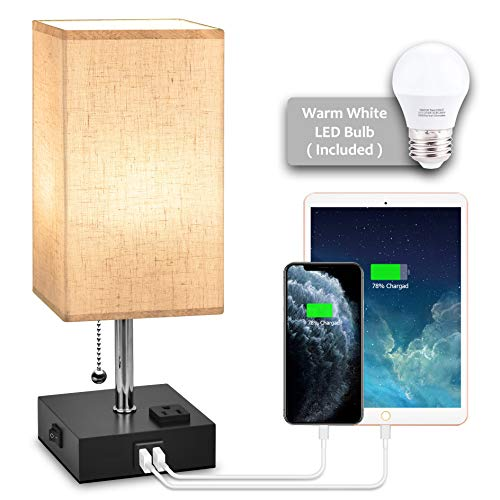 USB Bedside Table Lamp,Hansang Nightstand Lamp with Dual Charging Ports,LED Desk Lamps for Bedrooms,Tetragon Fabric Linen Lamp Shade with Pull Chain,E26 Warm White Light Bulb Included