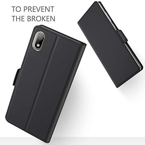 GEEMAI für Huawei Y5 2019 Hülle, für Huawei Y5 Prime 2019 Hülle, handyhüllen Flip Hülle Wallet Stylish mit Standfunktion und Magnetisch PU Tasche Schutzhülle passt für Huawei Y5 2019 Phone, Schwarz - 4