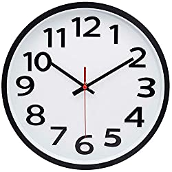 12 Inch Modern Wall Clock Silent Non-Ticking Battery Operated 3D Numbers Bright Color Dial Face with Red Second Hand Wall Clock for Home/Office Decor, White