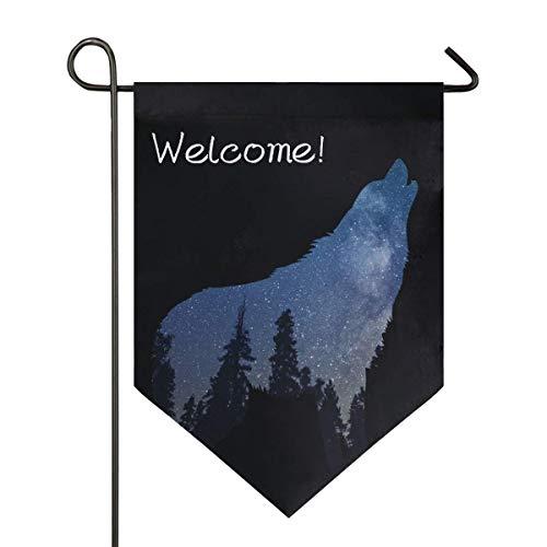 VLOOQ-HX Bienvenue Galaxy Wolf Forest Garden Flag Double Face Space Animal Art Home Yard Decor Banner Outdoor 12,5 x 18 Pouces